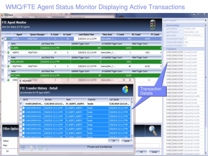 WMQ/FTE Agent Status Monitor Displaying Active Transactions