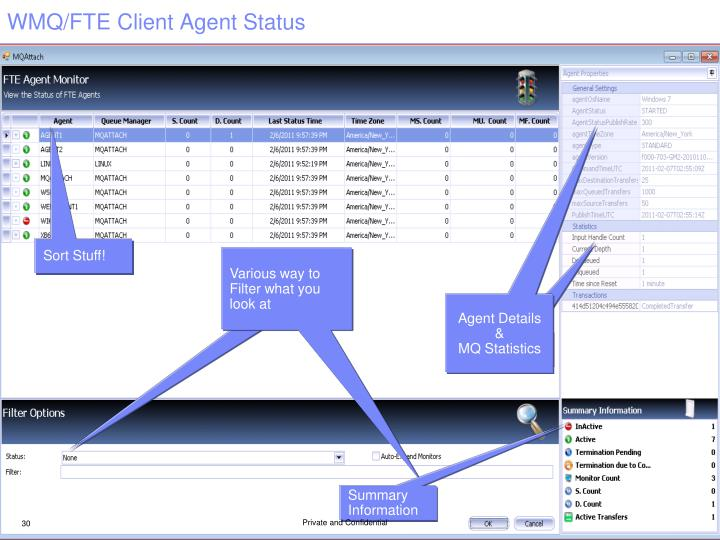 WMQ/FTE Client Agent Status