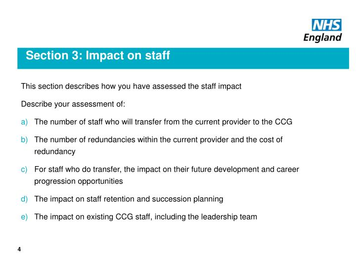 Section 3: Impact on staff