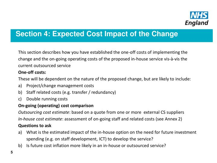 Section 4: Expected Cost Impact of the