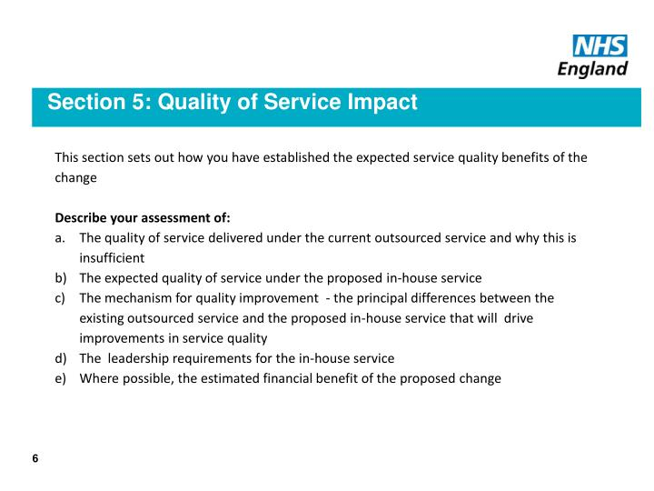 Section 5: Quality of Service Impact