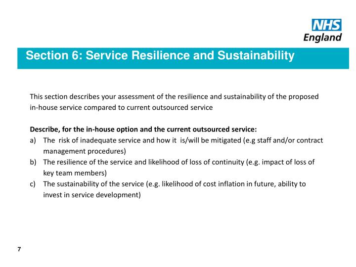 Section 6: Service Resilience and Sustainability