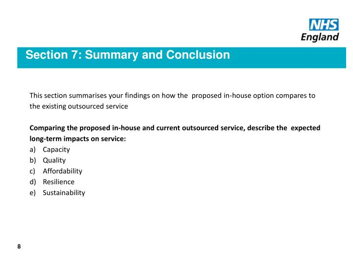 Section 7: Summary and Conclusion