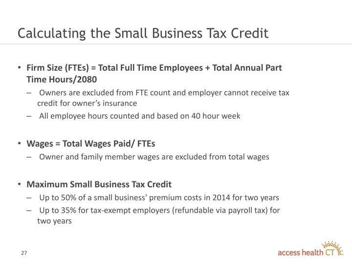 Calculating the Small Business Tax Credit