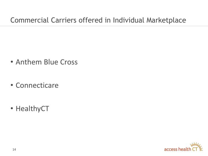 Commercial Carriers offered in Individual Marketplace
