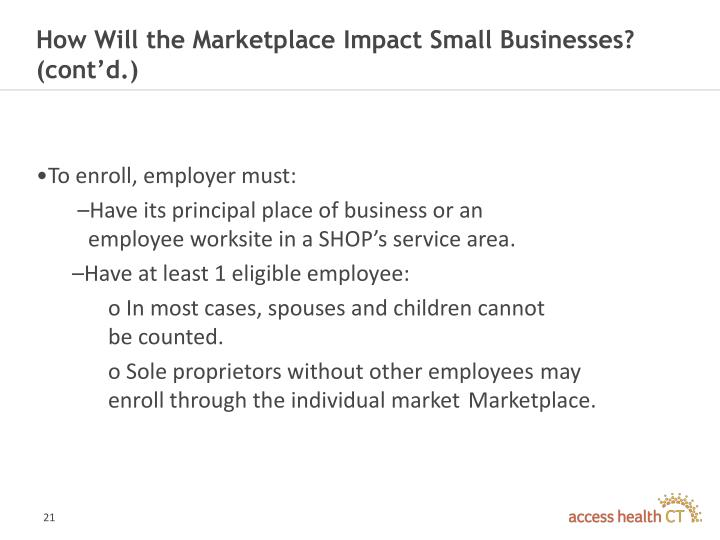 How Will the Marketplace Impact Small Businesses? (cont'd.)