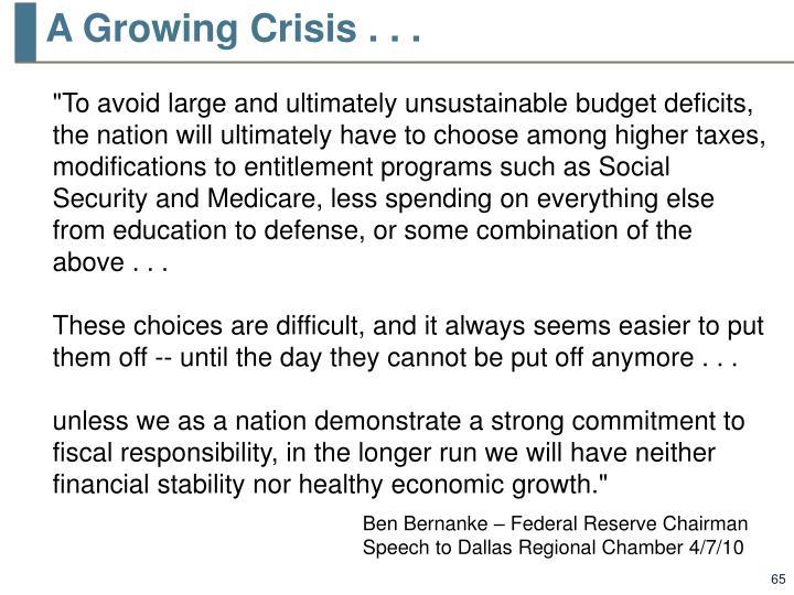 A Growing Crisis . . .