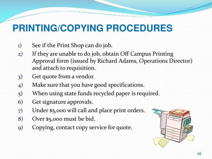 PRINTING/COPYING PROCEDURES