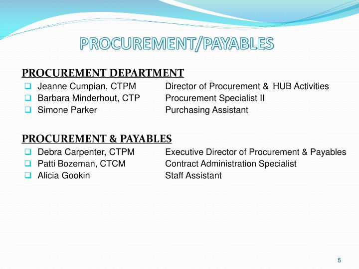 PROCUREMENT/PAYABLES