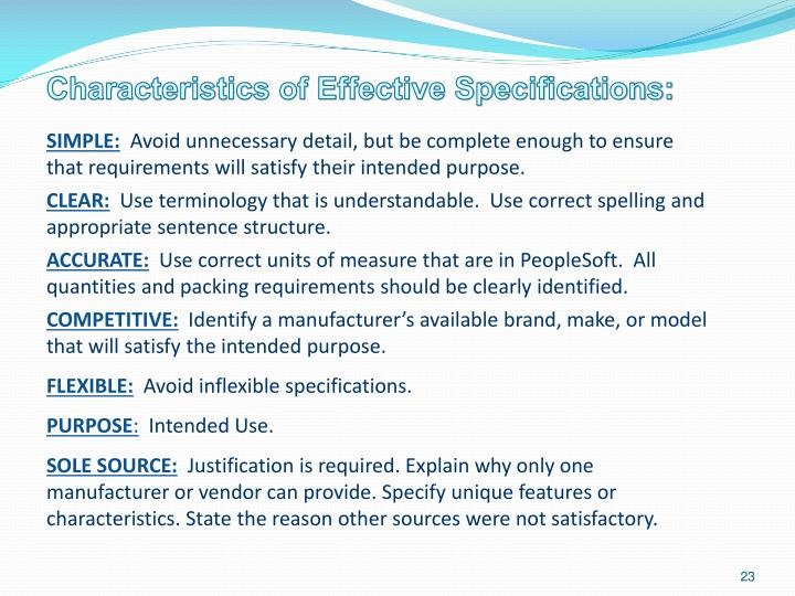 Characteristics of Effective Specifications:
