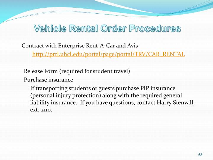 Vehicle Rental Order Procedures