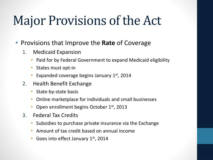 Major Provisions of the Act