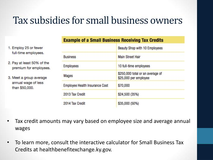 Tax subsidies for small business owners