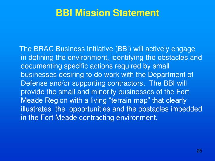 BBI Mission Statement