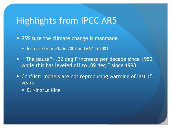 Highlights from IPCC AR5