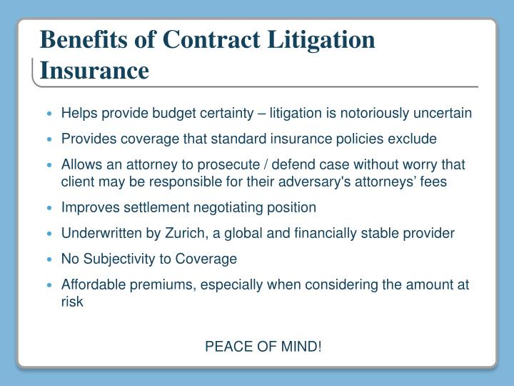 Benefits of Contract Litigation Insurance