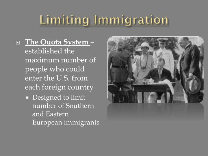 Limiting Immigration