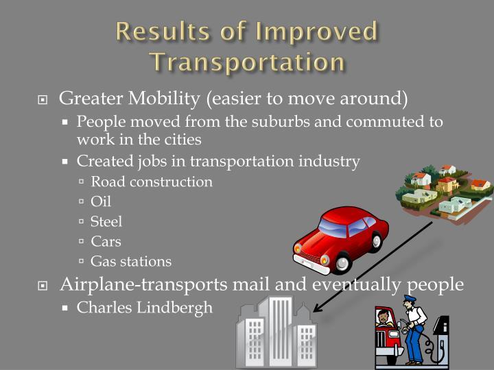 Results of Improved Transportation