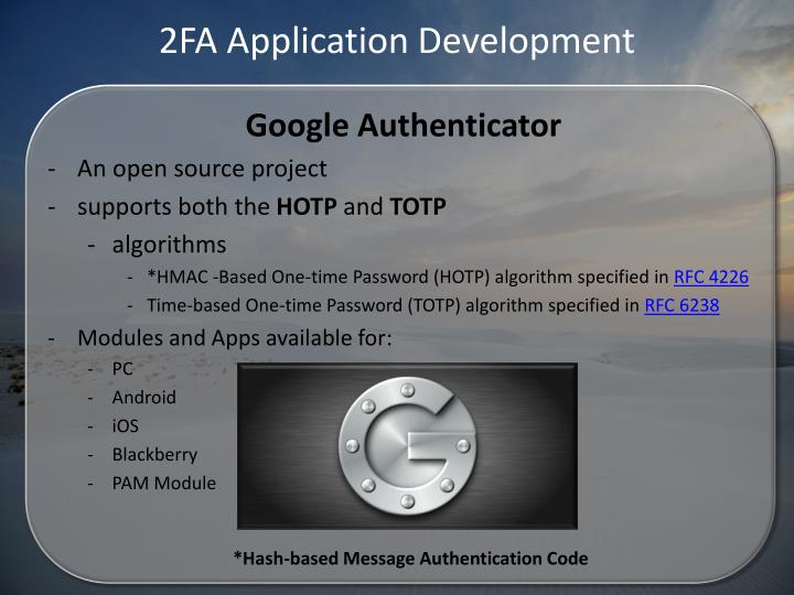 2FA Application Development