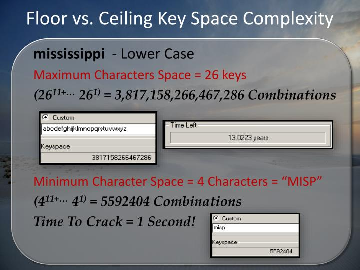 Floor vs. Ceiling Key Space Complexity