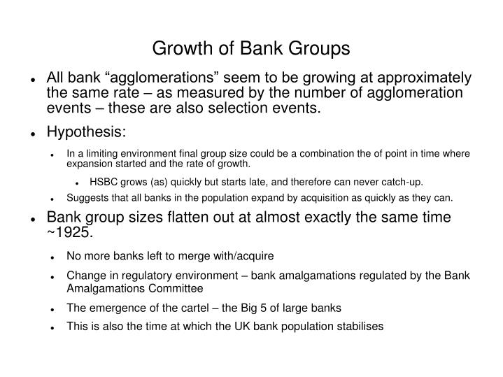 Growth of Bank Groups