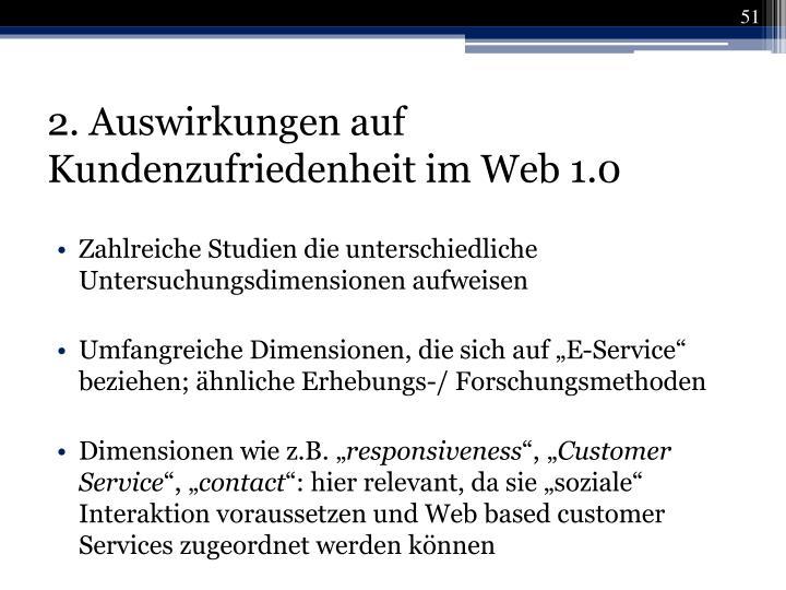 2. Auswirkungen auf Kundenzufriedenheit im Web 1.0