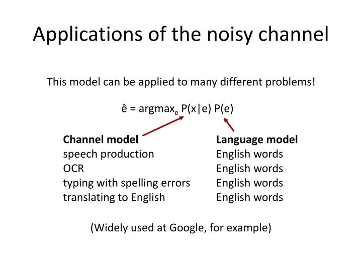Applications of the noisy channel