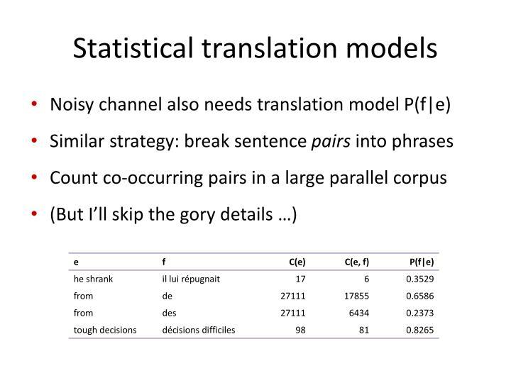 Statistical translation models