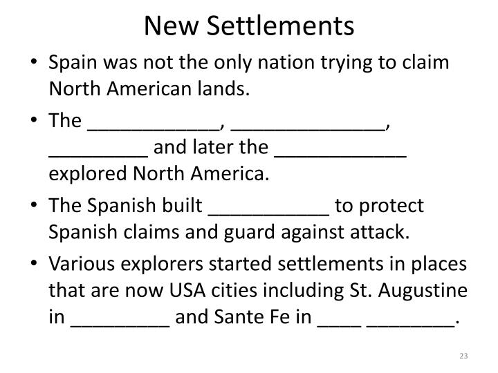 New Settlements