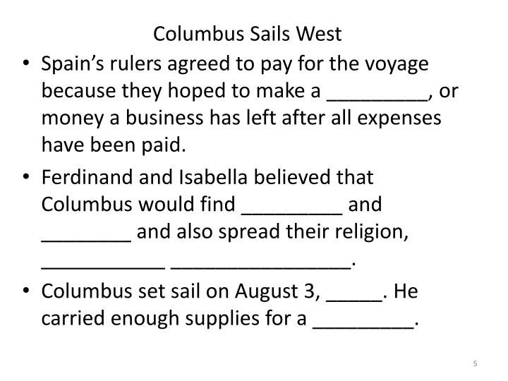 Columbus Sails West