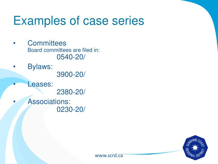 Examples of case series