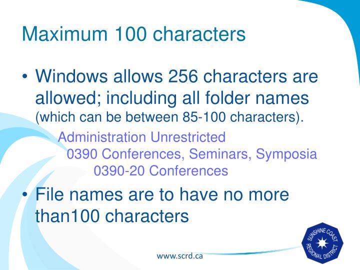 Maximum 100 characters