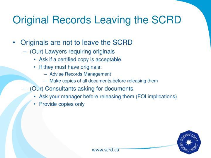 Original Records Leaving the SCRD