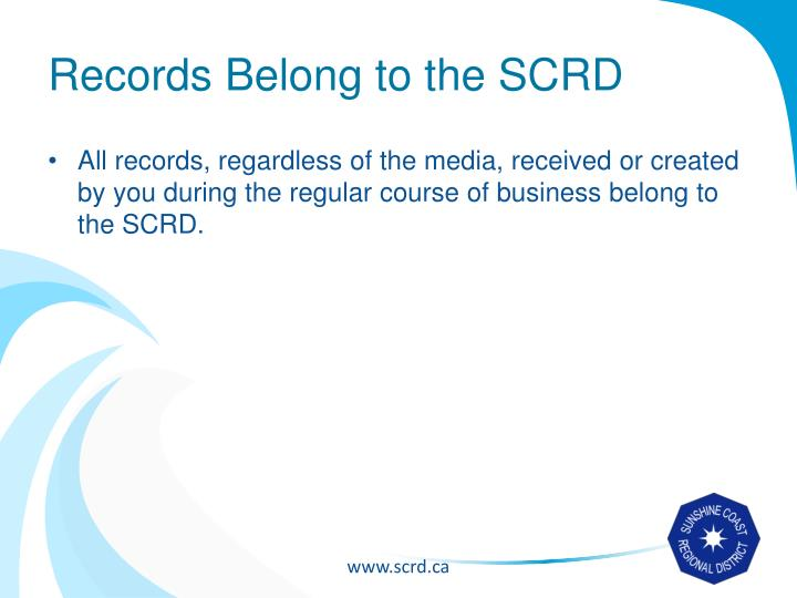 Records Belong to the SCRD
