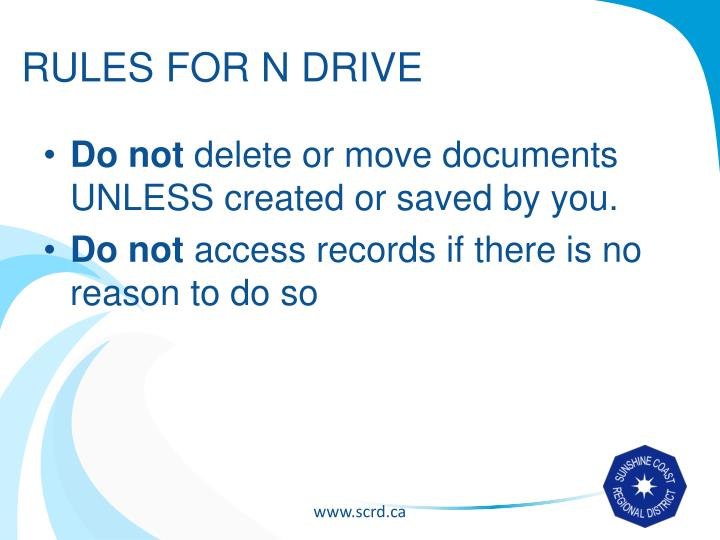 RULES FOR N DRIVE
