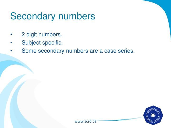 Secondary numbers