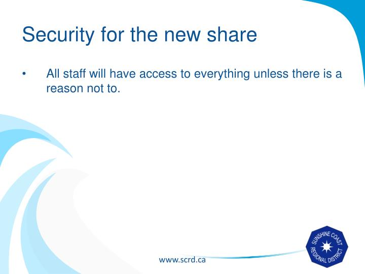 Security for the new share