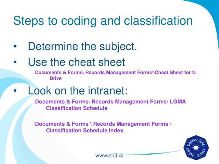 Steps to coding and classification