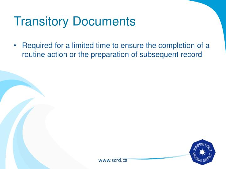 Transitory Documents