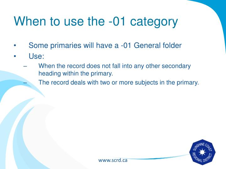 When to use the -01 category