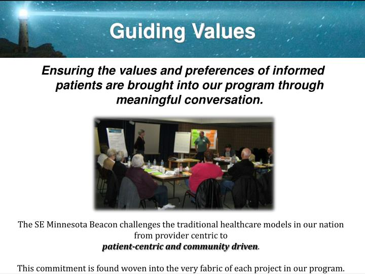 Ensuring the values and preferences of informed patients are brought into our program through meaningful conversation.