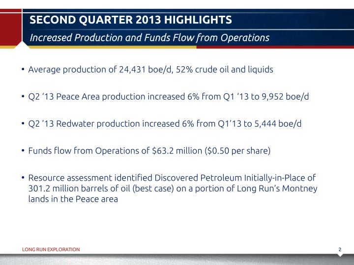 Second quarter 2013 highlights