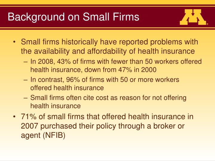 Background on small firms