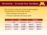 sensitivity exclude key variables