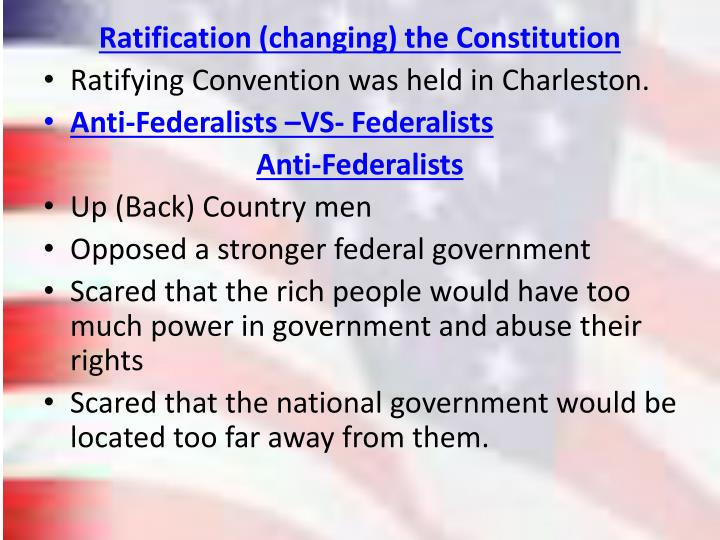 Ratification (changing) the Constitution