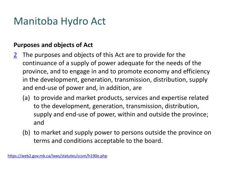 Manitoba Hydro Act