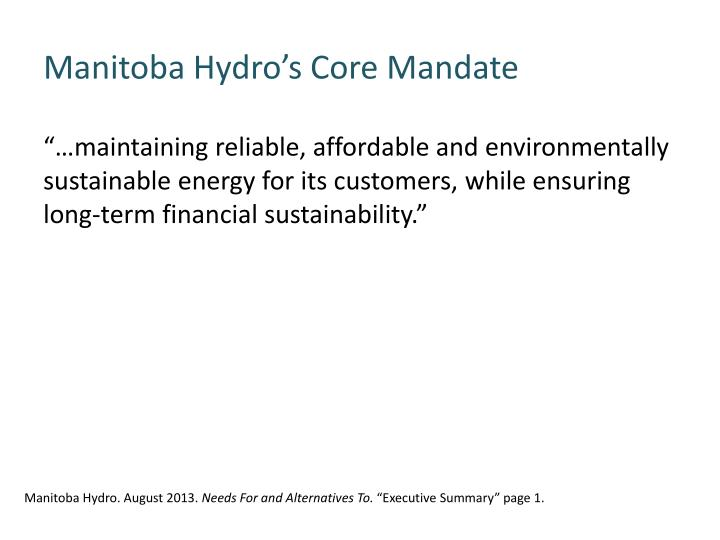 Manitoba Hydro's Core Mandate