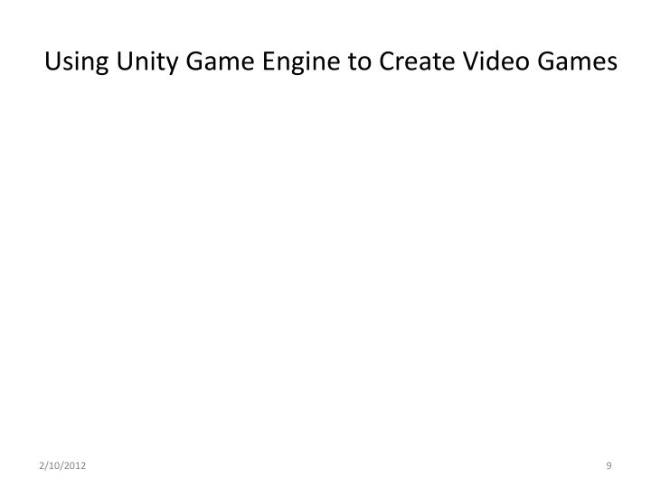 Using Unity Game Engine to Create Video