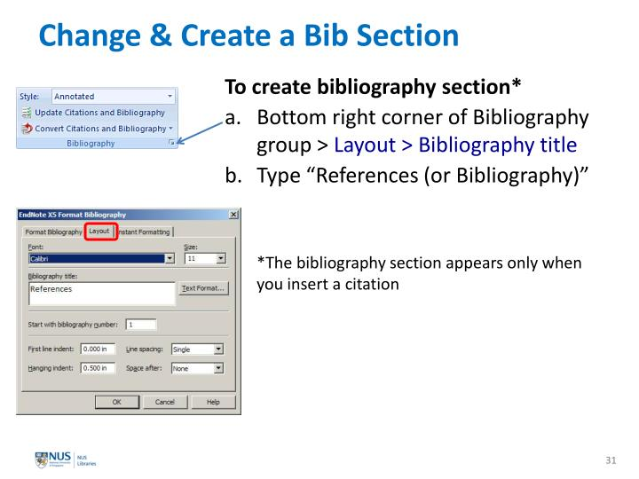 Change & Create a Bib Section