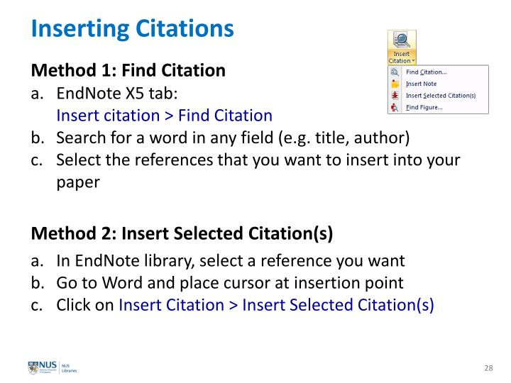 Inserting Citations